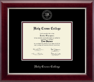 Holy Cross College Diploma Frame - Silver Embossed Diploma Frame in Gallery Silver