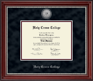 Holy Cross College Diploma Frame - Silver Engraved Medallion Diploma Frame in Kensington Silver