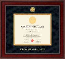 School of Visual Arts Diploma Frame - Presidential Gold Engraved Diploma Frame in Jefferson