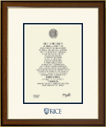 Rice University Diploma Frame - Dimensions Diploma Frame in Westwood