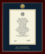 Rice University Diploma Frame - Gold Engraved Medallion Diploma Frame in Sutton