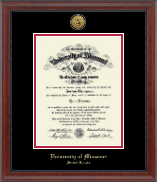 University of Missouri Saint Louis Diploma Frame - Gold Engraved Medallion Diploma Frame in Signature