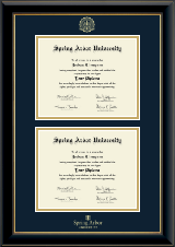 Spring Arbor University Diploma Frame - Double Diploma Frame in Onyx Gold