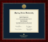 Spring Arbor University Diploma Frame - Gold Engraved Medallion Diploma Frame in Sutton