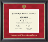 University of  Nebraska at Omaha Diploma Frame - Gold Engraved Medallion Diploma Frame in Noir