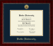 Butler University Diploma Frame - Gold Engraved Medallion Diploma Frame in Sutton