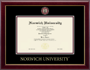 Norwich University Diploma Frame - Masterpiece Medallion Diploma Frame in Gallery