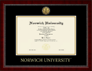 Norwich University Diploma Frame - Gold Engraved Medallion Diploma Frame in Sutton