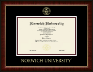 Norwich University Diploma Frame - Gold Embossed Diploma Frame in Murano