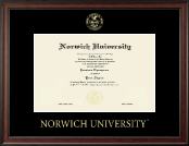Norwich University Diploma Frame - Gold Embossed Diploma Frame in Studio