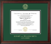 William Smith College Diploma Frame - Gold Embossed Diploma Frame in Studio