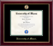 University of Miami Diploma Frame - Masterpiece Medallion Diploma Frame in Gallery