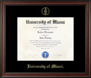 University of Miami Diploma Frame - Gold Embossed Diploma Frame in Studio
