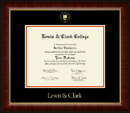 Lewis & Clark College Diploma Frame - Gold Embossed Diploma Frame in Murano