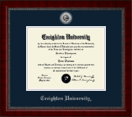 Creighton University Diploma Frame - Silver Engraved Medallion Diploma Frame in Sutton