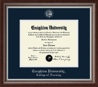 Creighton University Diploma Frame - Silver Embossed Diploma Frame in Devonshire