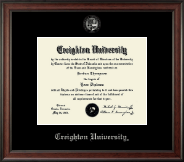 Creighton University Diploma Frame - Silver Embossed Diploma Frame in Studio