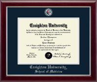 Creighton University Diploma Frame - Masterpiece Medallion Diploma Frame in Gallery Silver