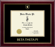 Beta Theta Pi Fraternity Certificate Frame - Gold Embossed Certificate Frame in Gallery