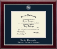 Xavier University Diploma Frame - Masterpiece Medallion Diploma Frame in Gallery Silver
