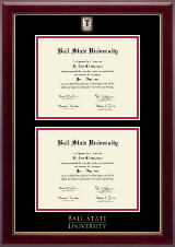 Ball State University Diploma Frame - Masterpiece Medallion Double Diploma Frame in Gallery