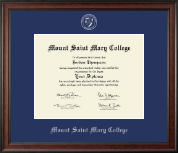 Mount Saint Mary College Diploma Frame - Silver Embossed Diploma Frame in Studio