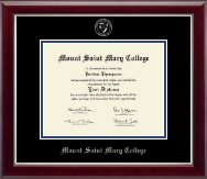 Mount Saint Mary College Diploma Frame - Silver Embossed Diploma Frame in Gallery Silver