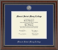 Mount Saint Mary College Diploma Frame - Silver Engraved Medallion Diploma Frame in Chateau