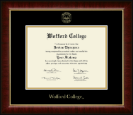 Wofford College Diploma Frame - Gold Embossed Diploma Frame in Murano