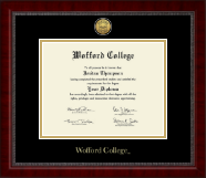 Wofford College Diploma Frame - Gold Engraved Medallion Diploma Frame in Sutton