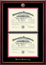 Boston University Diploma Frame - Masterpiece Medallion Double Diploma Frame in Gallery