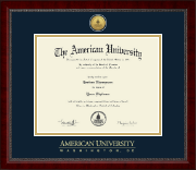 American University Diploma Frame - Gold Engraved Medallion Diploma Frame in Sutton