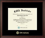 Chartered Financial Analyst Certificate Frame - Gold Embossed Certificate Frame in Studio