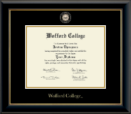 Wofford College Diploma Frame - Masterpiece Medallion Diploma Frame in Onyx Gold