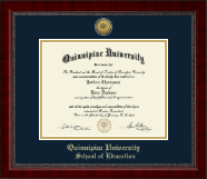 Quinnipiac University Diploma Frame - Gold Engraved Medallion Diploma Frame in Sutton