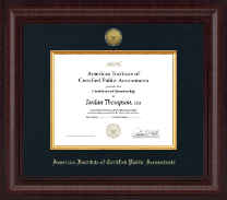 American Institute of Certified Public Accountants Certificate Frame - Presidential Gold Engraved Certificate Frame in Premier