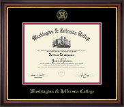 Washington & Jefferson College Diploma Frame - Gold Embossed Diploma Frame in Regency Gold