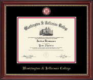 Washington & Jefferson College Diploma Frame - Masterpiece Medallion Diploma Frame in Kensington Gold