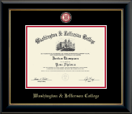 Washington & Jefferson College Diploma Frame - Masterpiece Medallion Diploma Frame in Onyx Gold