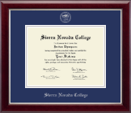 Sierra Nevada College Diploma Frame - Silver Embossed Diploma Frame in Gallery Silver