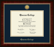 Queens College Diploma Frame - Gold Engraved Medallion Diploma Frame in Murano