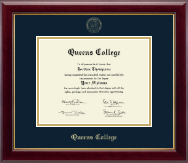 Queens College Diploma Frame - Gold Embossed Diploma Frame in Gallery