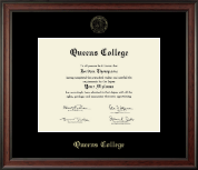 Queens College Diploma Frame - Gold Embossed Diploma Frame in Studio