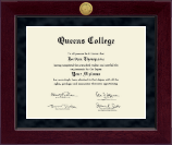 Queens College Diploma Frame - Millennium Gold Engraved Diploma Frame in Cordova