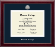 Queens College Diploma Frame - Silver Engraved Medallion Diploma Frame in Gallery Silver