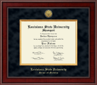Louisiana State University School of Medicine Diploma Frame - Presidential Gold Engraved Diploma Frame in Jefferson