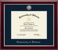 University of Illinois Diploma Frame - Silver Engraved Medallion Diploma Frame in Gallery Silver
