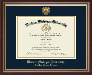 Western Michigan University Diploma Frame - Gold Engraved Medallion Diploma Frame in Hampshire