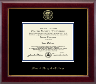 Mount Holyoke College Diploma Frame - Gold Embossed Diploma Frame in Gallery