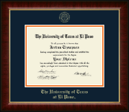 University of Texas at El Paso Diploma Frame - Gold Embossed Diploma Frame in Murano